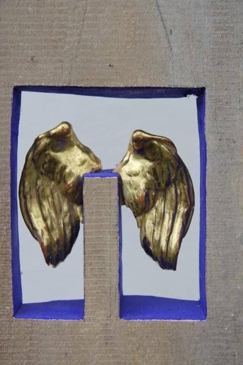 ZWEI GOLDENE (Ausschnitt), Lindenholz, Blattvergoldung, h 180 cm
