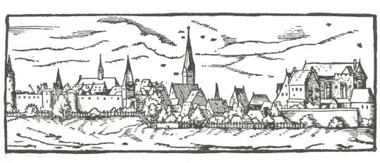 Ansicht der Stadt Abensberg von Jost Amman aus einem Manuskript von Phillip Apian, 1579