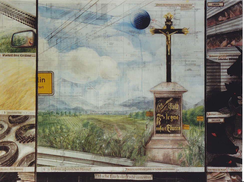Gabriele Stolz: Fremde Heimat II, Zeichnung/Montage, 90 x 120 cm, 2006