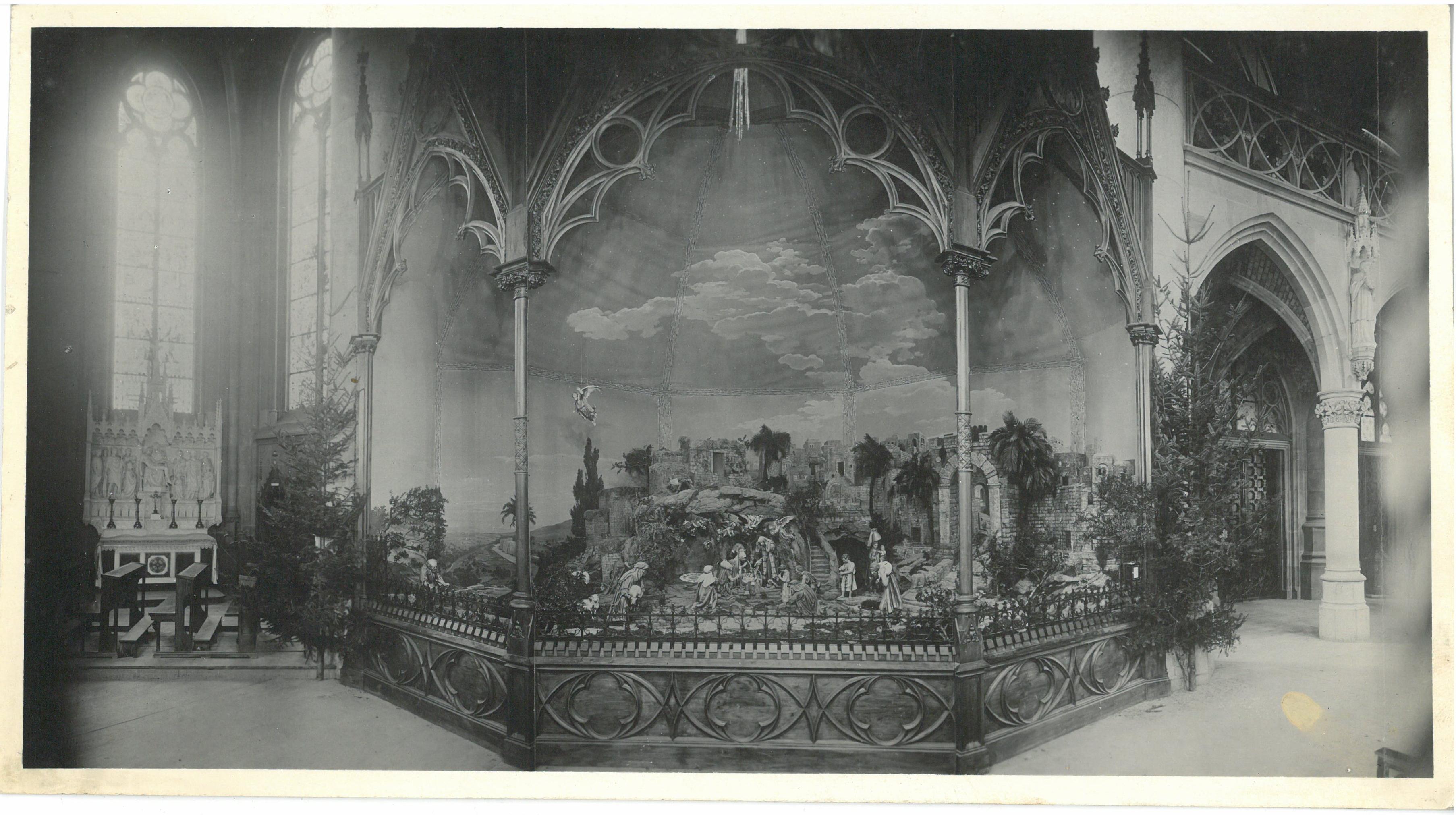 Gesamtansicht der im 2. Weltkrieg zerstörten Paderborner Domkrippe, um 1919