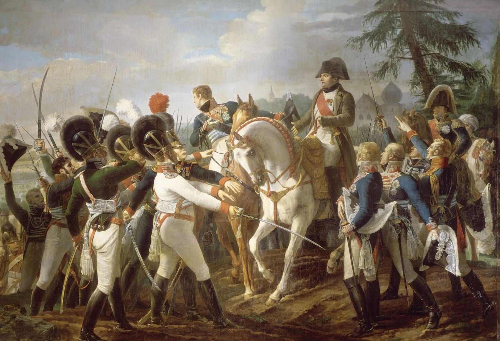 """""""Napoléon harangue les troupes bavaroises et wurtembourgeoises à Abensberg. 20. Avril 1809"""", Jean-Baptiste Debret, Öl auf Leinwand, (368 cm x 494 cm), 1810 Versailles; Musée national du Château et des Trianons."""