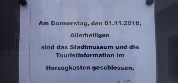 Herzogskasten am 1.11. geschlossen!