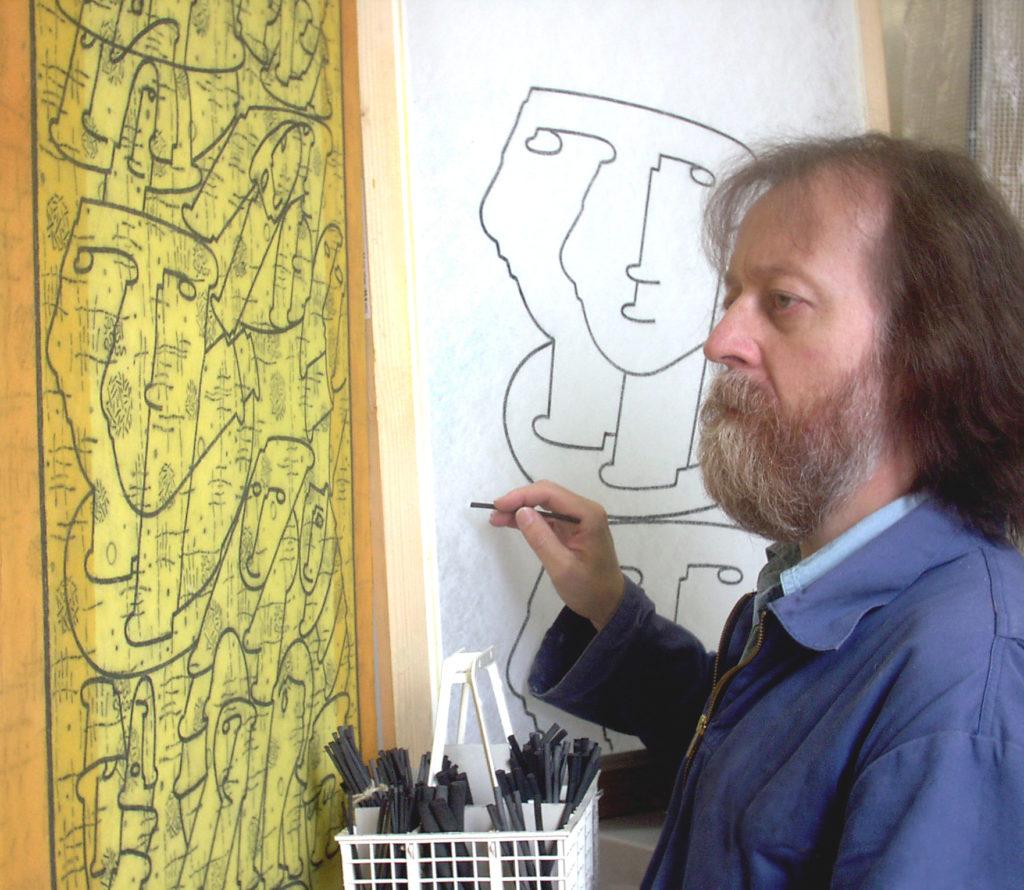 Johann Schwarzfischer im Atelier
