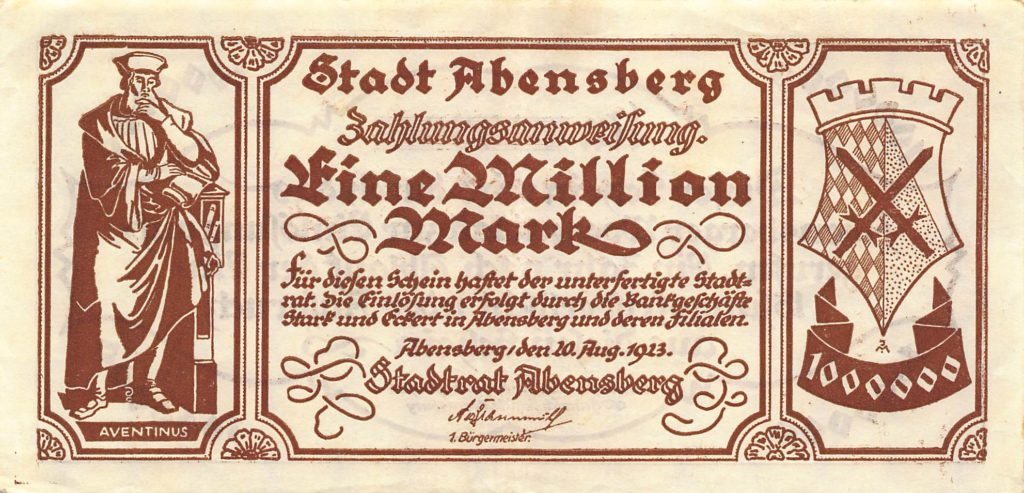 """Eine Million Mark"", Notgeld, Abensberg 1923"