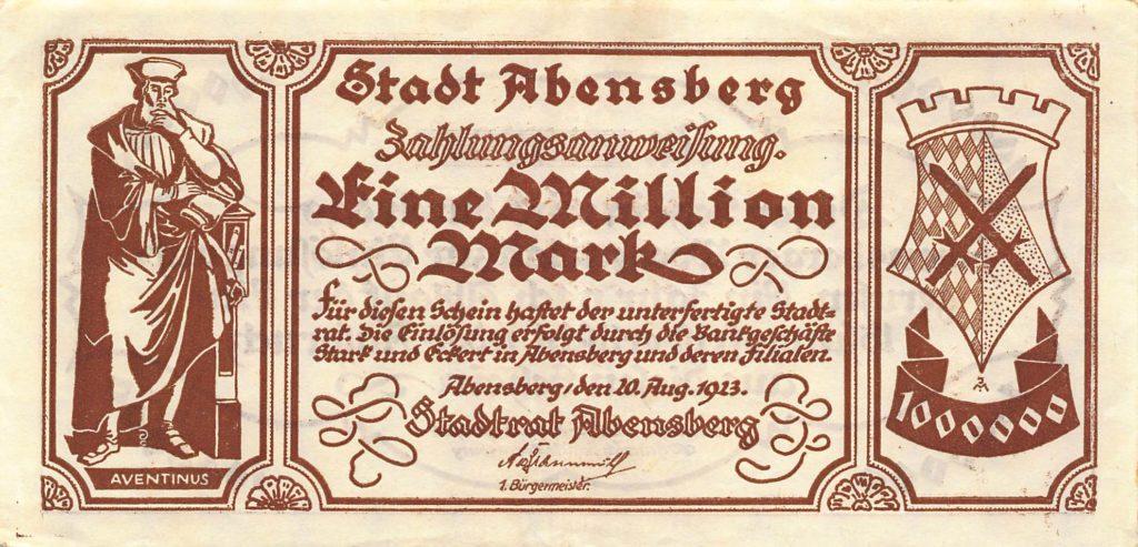 """""""Eine Million Mark"""", Notgeld, Abensberg 1923"""